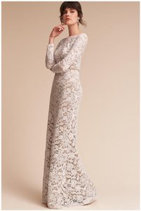 847bc639c8363 BHLDN Ivory and Nude Lace Tadashi Shoji Medallion Vintage Wedding Dress  Size 10 (M)