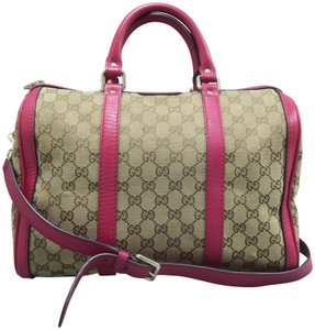 Gucci Boston Gg Canvas Satchel in Brown