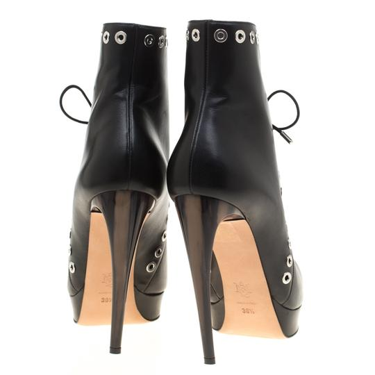 Alexander McQueen Leather Detail Platform Ankle Black Boots Image 2