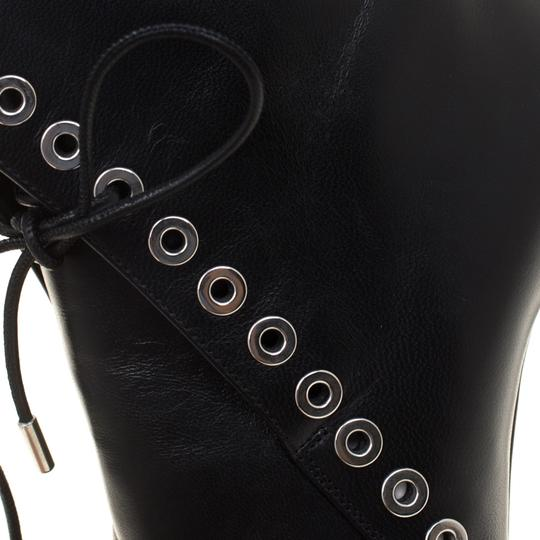 Alexander McQueen Leather Detail Platform Ankle Black Boots Image 6
