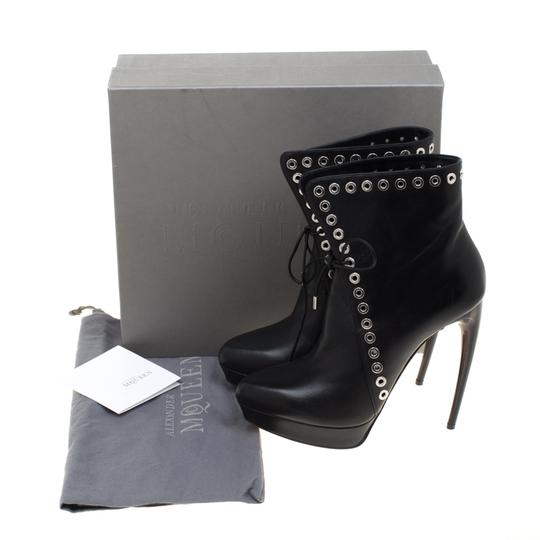 Alexander McQueen Leather Detail Platform Ankle Black Boots Image 7