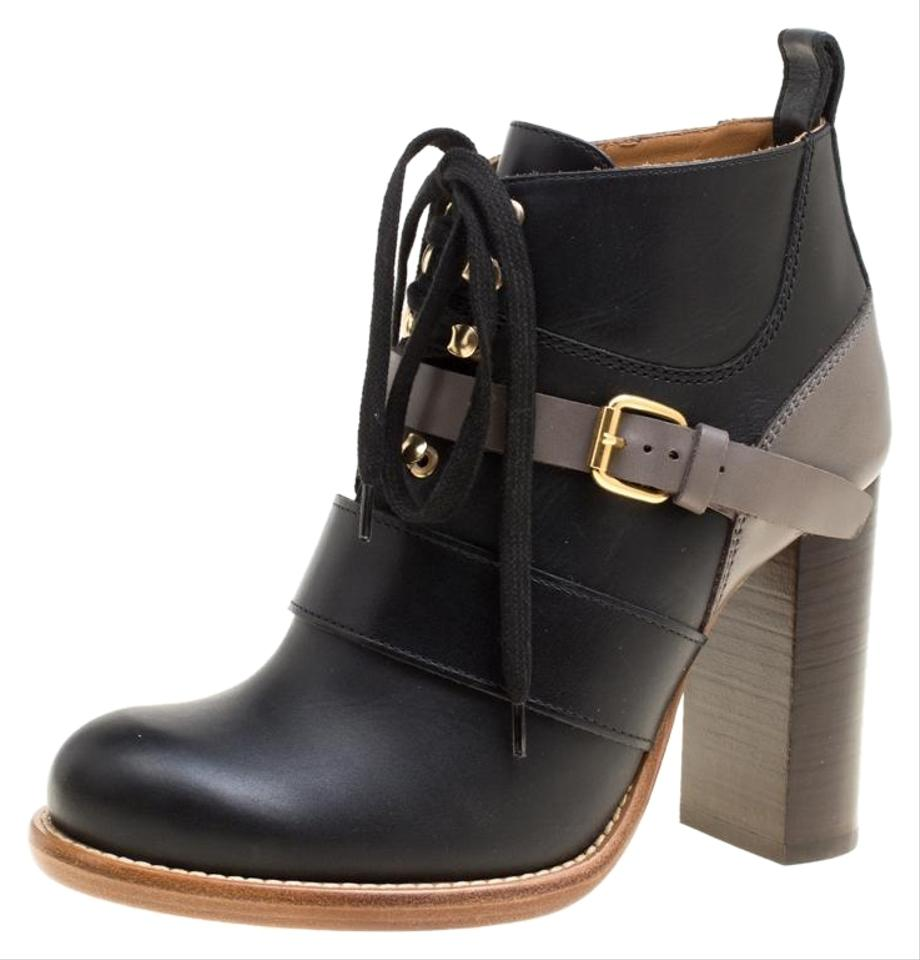 25910cbe7a Chloé Black Two Tone Leather Heel Lace Up Ankle Boots/Booties Size EU 36  (Approx. US 6) Regular (M, B)