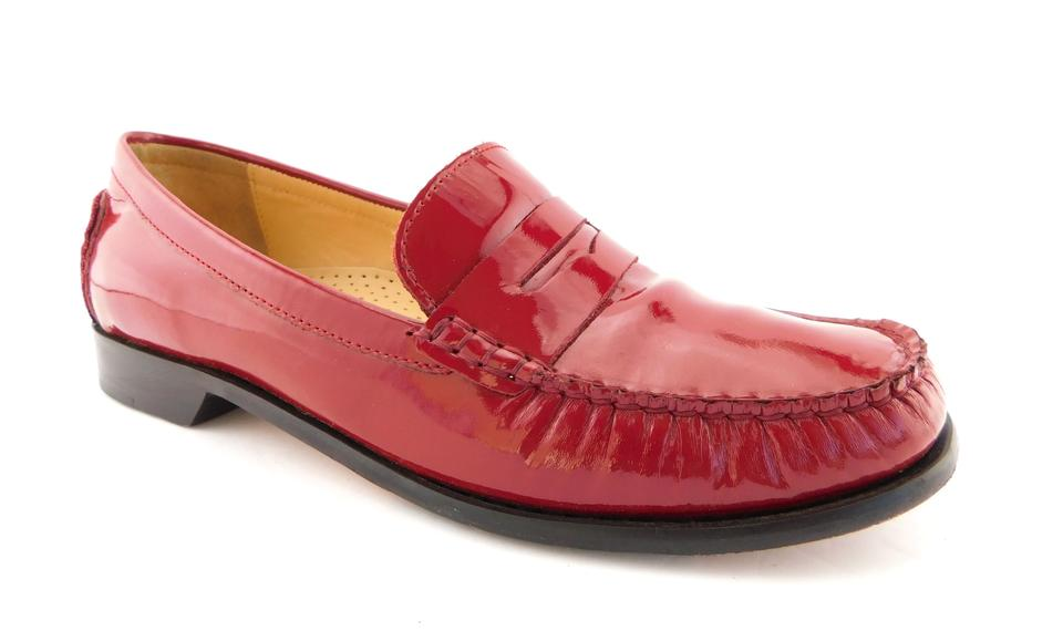 Cole Haan Red Patent Leather Slip-on Penny Loafers Flats ...