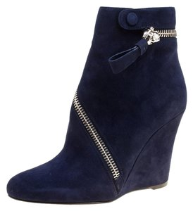 Alexander McQueen Suede Detail Leather Wedge Ankle Blue Boots