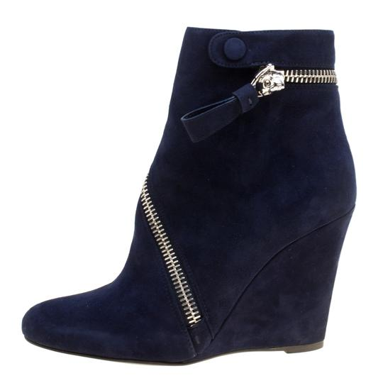 Alexander McQueen Suede Detail Leather Wedge Ankle Blue Boots Image 1