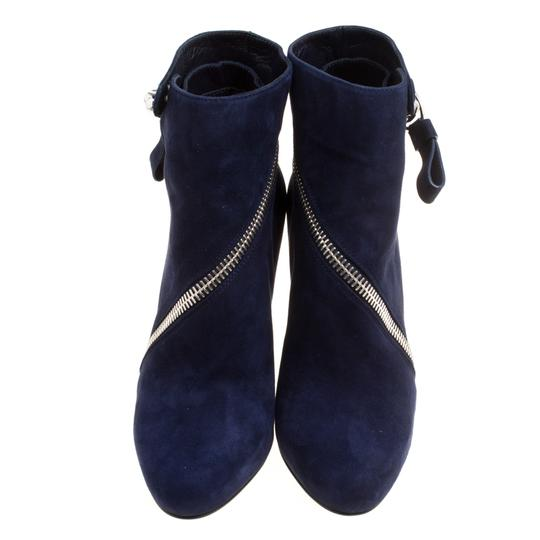 Alexander McQueen Suede Detail Leather Wedge Ankle Blue Boots Image 2