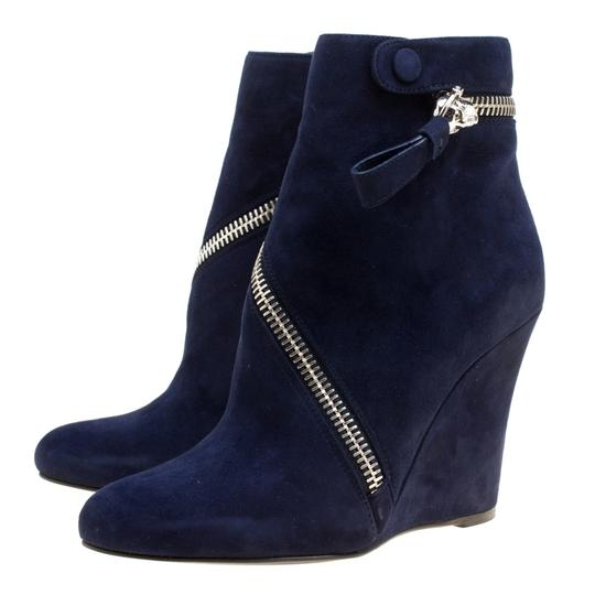 Alexander McQueen Suede Detail Leather Wedge Ankle Blue Boots Image 3