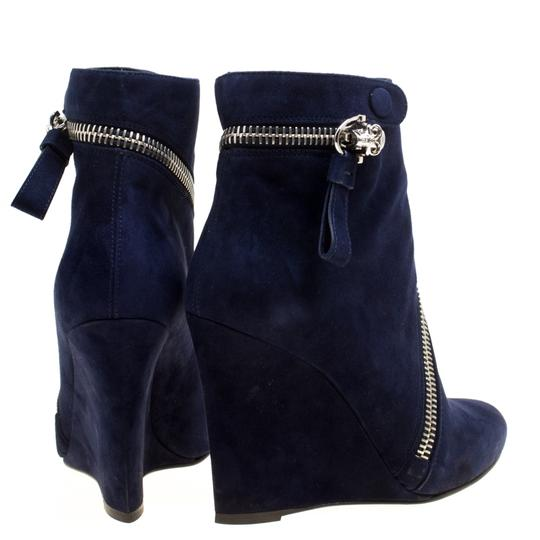 Alexander McQueen Suede Detail Leather Wedge Ankle Blue Boots Image 5