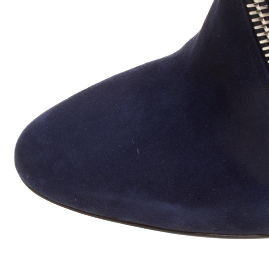 Alexander McQueen Suede Detail Leather Wedge Ankle Blue Boots Image 6