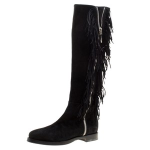 Le Silla Suede Leather Black Boots