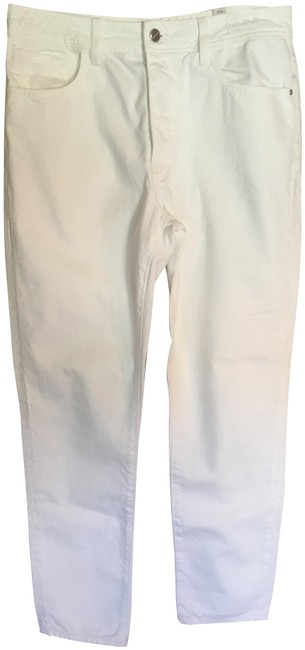 Item - White Distressed Mom Fit High Waist Straight Leg Jeans Size 32 (8, M)