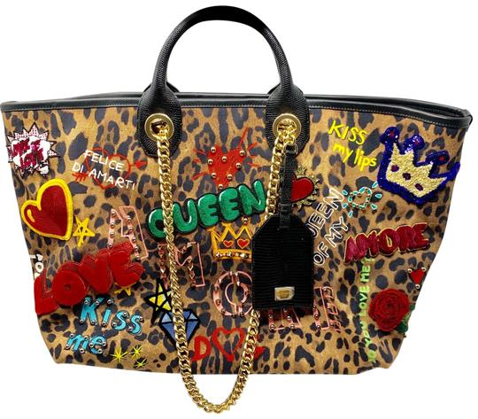 Preload https://img-static.tradesy.com/item/25733201/dolce-and-gabbana-dolce-and-gabbana-queen-leopard-and-multi-colored-canvas-tote-0-1-540-540.jpg