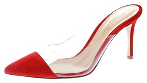 Gianvito Rossi Suede Pointed Toe Mule Leather Red Sandals