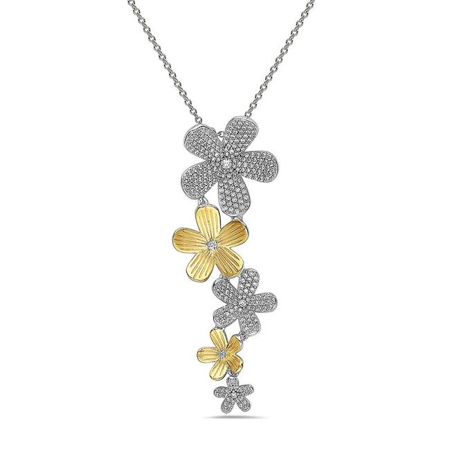 Item - White/Yellow 925 Sterling Silver Tone Matt Flower Necklace
