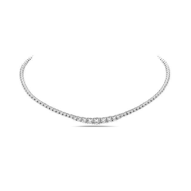 Item - White 925 Sterling Silver Rivera Tennis Crystal Choker Necklace