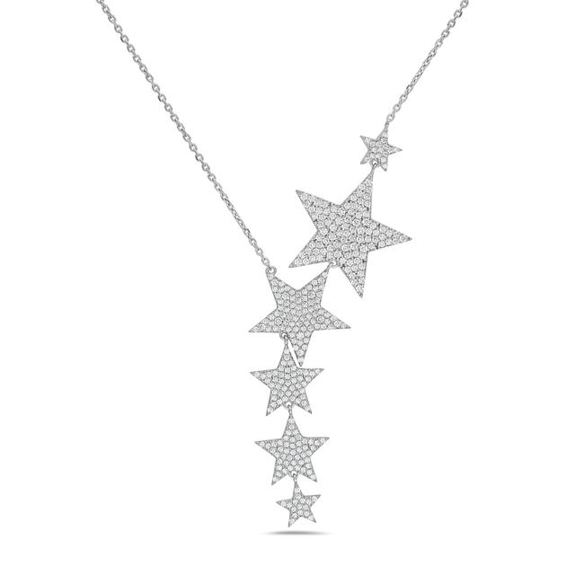 Item - White 925 Sterling Silver Fancy Crystal Star Necklace