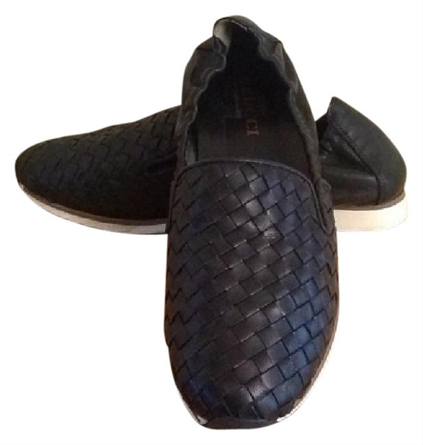 Item - Black Woven Leather Loafers Wedges Size US 7.5 Narrow (Aa, N)