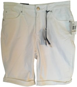 Angels Jeans Cuffed Slimming Spandex Bermuda Shorts White