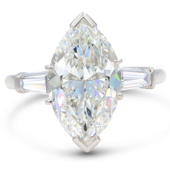 Item - 18k White Gold Three Stone 5.40ct Marquise Diamond Engagement with Side Baguette Ring