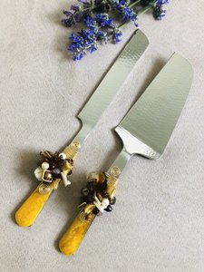 Yellow Cake Knife Set with Crystal Bead & Resin Handle Serverware