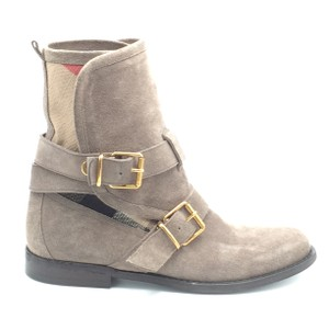 Burberry Suede Mid Calf Gray Boots
