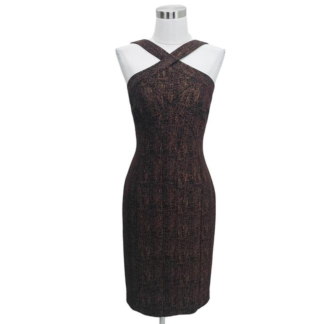 Item - Brown XS N176 Sparkle Cross Sheath Short Formal Dress Size 2 (XS)