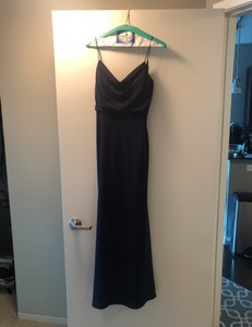Jenny Yoo Navy Crepe De Chine Capri Formal Bridesmaid/Mob Dress Size 2 (XS)