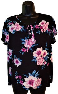 Pink Rose Pullover Sheer Lightweight Top Black with Pink & Blue Flowers