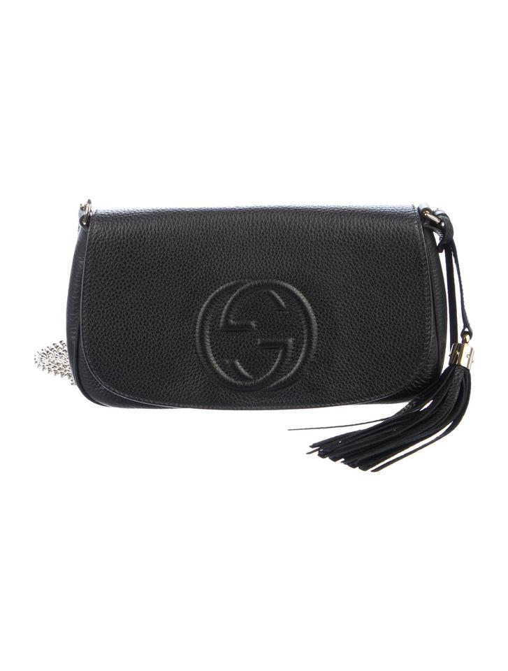 d9a74f5506d Gucci Soho Chain Shoulder Black Grained Leather Cross Body Bag