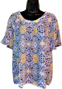 Pink Rose Flowered Pullover Sheer Lightweight Top Blue, Yellow & White