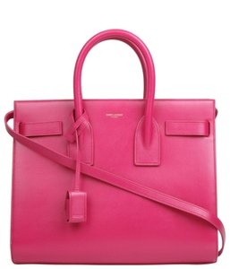 Saint Laurent Ysl Sac De Jour Leather Satchel in Hot Pink