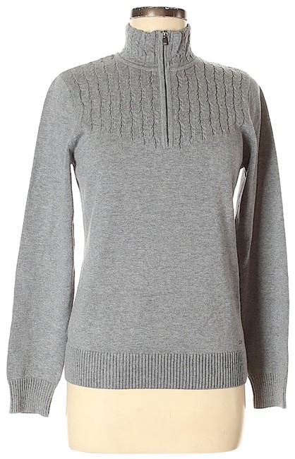 Item - Cable Knit Half Zip Gray Sweater