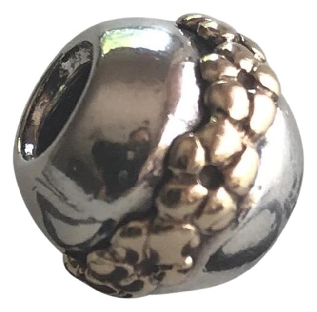 PANDORA Sterling Silver and 14k Gold Saturn Flower Two Toned Retired Charm PANDORA Sterling Silver and 14k Gold Saturn Flower Two Toned Retired Charm Image 1