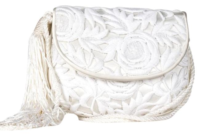 Item - Ivory Embroidered Hand White Lace Cross Body Bag