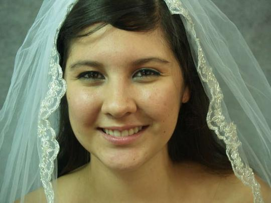 Diamond White Medium Silver Embroidered Flowers and Hand Sewn Beaded Edge Bridal Veil