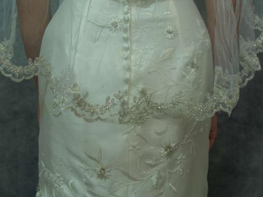 Diamond White Medium Silver Embroidered Flowers and Hand Sewn Beaded Edge