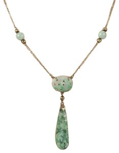 Antique 14k Yellow Gold Carved Jade Pendant Dangle Necklace