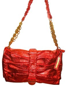 Alexander McQueen Red Purse Designer Metallic Stunning Shoulder Bag