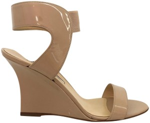 Manolo Blahnik Patent Patent Leather Ankle Strap Nude Wedges