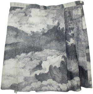 agnès b. Snowflake Made In France Vintage Skirt Prestige Paris Gray Blue and Off White
