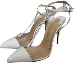Christian Louboutin Pvc Patent Leather Ankle Strap Pointed Toe White Pumps