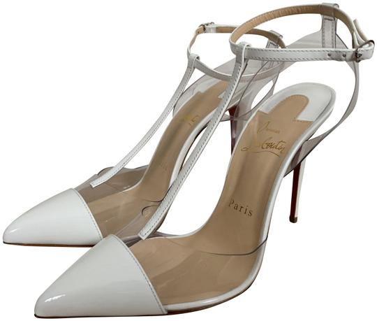 Christian Louboutin Pvc Patent Leather Ankle Strap Pointed Toe White Pumps Image 0