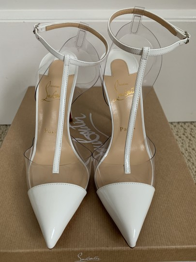 Christian Louboutin Pvc Patent Leather Ankle Strap Pointed Toe White Pumps Image 1