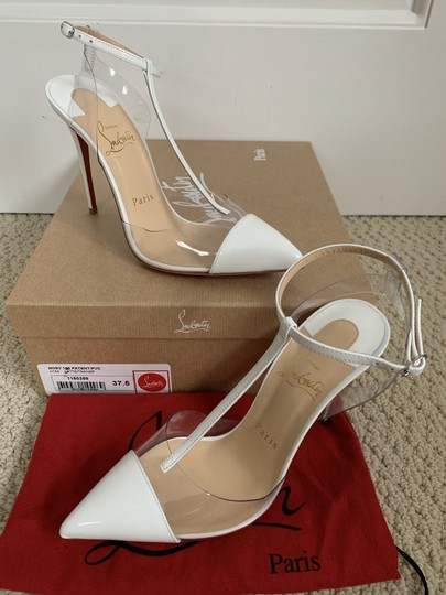 Christian Louboutin Pvc Patent Leather Ankle Strap Pointed Toe White Pumps Image 2