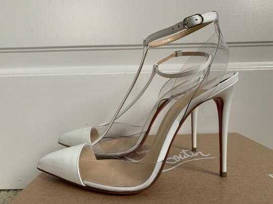 Christian Louboutin Pvc Patent Leather Ankle Strap Pointed Toe White Pumps Image 3