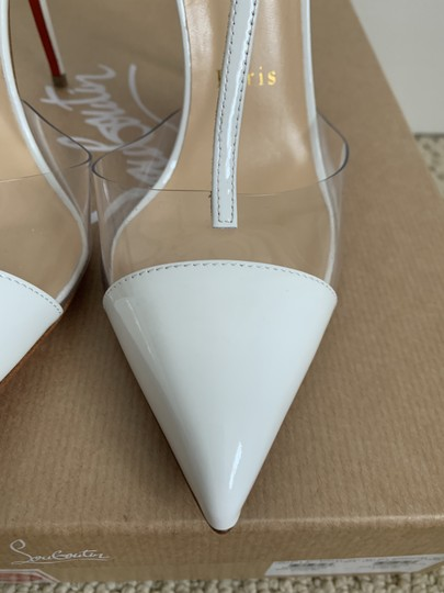 Christian Louboutin Pvc Patent Leather Ankle Strap Pointed Toe White Pumps Image 4