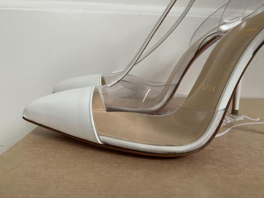 Christian Louboutin Pvc Patent Leather Ankle Strap Pointed Toe White Pumps Image 5
