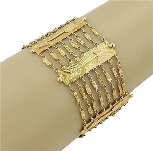 Estate 18k Yellow Gold Italian Arrow Multi Link Bracelet