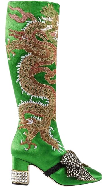 Item - Green Candy Dragon Embroidered Satin Knee-high Boots/Booties Size US 6 Regular (M, B)