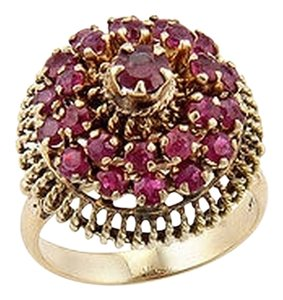 Estate 14k Yellow Gold Ruby Cluster Fashion Ring - Size 6.5